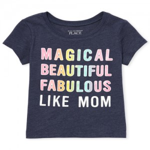 Baby And Toddler Girls Short Sleeve Glitter Rainbow 'Like Mom' Graphic Tee