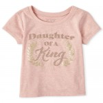 Baby And Toddler Girls Short Sleeve Glitter 'Daughter Of A King' Graphic Tee