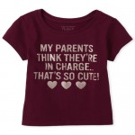 Baby And Toddler Girls Glitter Cute Graphic Tee