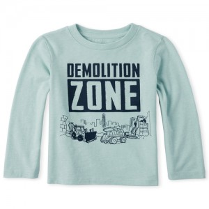Baby And Toddler Boys Long Sleeve 'Demolition Zone' Truck Graphic Tee