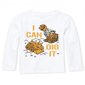 Baby And Toddler Boys Long Sleeve 'I Can Dig It' Truck Graphic Top