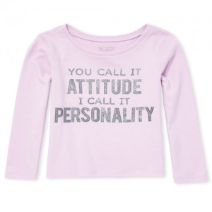 Baby And Toddler Girls Long Sleeve Glitter 'Personality' Graphic Top