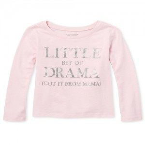 Baby And Toddler Girls Long Sleeve Glitter 'Little Bit Of Drama' Graphic Tee