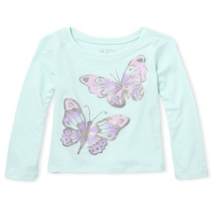 Baby And Toddler Girls Long Sleeve Glitter Butterfly Graphic Tee