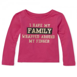 Baby And Toddler Girls Long Sleeve Glitter 'Family' Graphic Tee