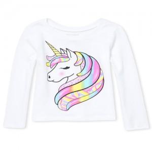 Baby And Toddler Girls Long Sleeve Rainbow Unicorn Graphic Tee