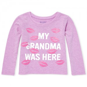 Baby And Toddler Girls Long Sleeve Glitter Graphic Tee