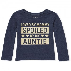 Baby And Toddler Girls Long Sleeve Glitter 'Spoiled By My Auntie' Graphic Tee