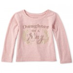 Baby And Toddler Girls Glitter Daughter Graphic Tee