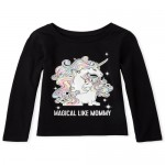 Baby And Todder Girls Long Sleeve Glitter Mommy Unicorn Graphic Tee