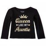 Baby And Toddler Girls Glitter Queen Aunt Graphic Tee