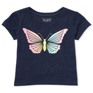 Baby And Toddler Girls Short Sleeve Glitter Rainbow Butterfly Graphic Tee