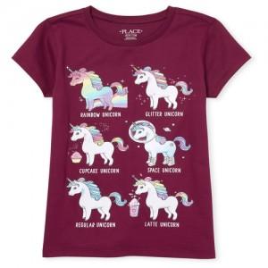 Girls Short Sleeve Glitter 'Rainbow Unicorn' Graphic Tee