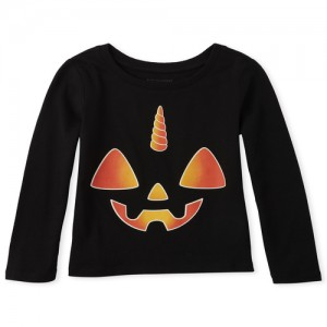 Baby And Toddler Girls Matching Family Long Sleeve Halloween Unicorn Graphic Tee