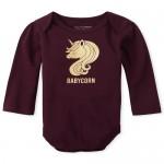 Baby Girls Long Sleeve Foil 'Babycorn' Graphic Bodysuit