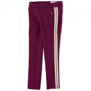 Girls Glitter Side Stripe Zip Ponte Knit Pull On Jeggings