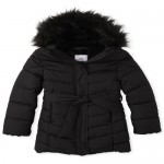 Girls Faux Fur Long Puffer Jacket