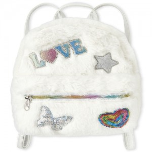 Girls Embellished Patch Faux Fur Mini Backpack