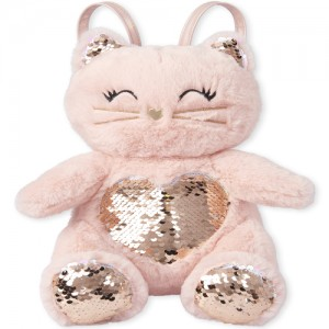Girls Flip Sequin Cat Faux Fur Mini Backpack