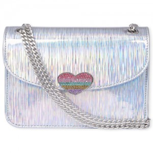 Girls Holographic Rhinestud Heart Bag