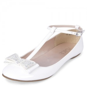 Girls Bow T Strap Ballet Flats