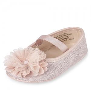 Baby Girls Glitter Mesh Flower Ballet Flats