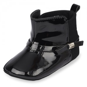 Baby Girls Faux Patent Leather Bow Booties