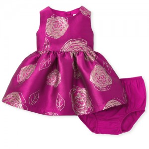 Baby Girls Metallic Floral Jacquard Dress And Bloomers Set