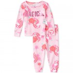 Baby And Toddler Girls Magical Unicorn Matching Snug Fit Cotton Pajamas