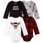 Baby Boys Buffalo Plaid Reindeer Bodysuit 4-Pack