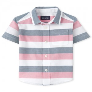 Baby And Toddler Boys Striped Oxford Matching Button Down Shirt