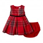 Baby Girls Glitter Plaid Matching Pleated Dress