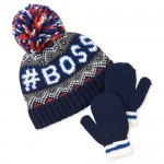 Toddler Boys Boss Pom Pom Beanie And Mitten Set