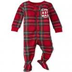 Unisex Baby And Toddler Christmas Plaid Snug Fit Cotton One Piece Pajamas