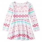 Baby And Toddler Girls Fair Isle Matching Skater Dress