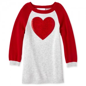 Baby And Toddler Girls Sequin Heart Sweater Dress