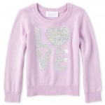 Baby And Toddler Girls Sequin Love Sweater