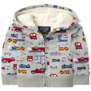 Baby And Toddler Boys Truck Sherpa Fleece Zip Up Hoodie