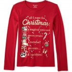 Girls Glitter Christmas List Graphic Tee