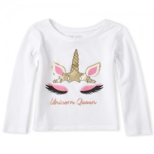 Baby And Toddler Girls Glitter Princess Unicorn Matching Graphic Tee