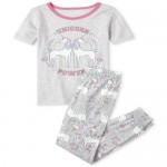 Girls Glow Unicorn Snug Fit Cotton Pajamas