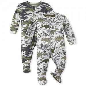 Baby And Toddler Boys Camo Dino Snug Fit Cotton One Piece Pajamas 2-Pack