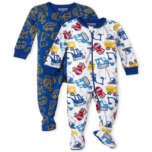 Baby And Toddler Boys Construction Snug Fit Cotton One Piece Pajamas 2-Pack