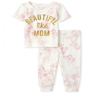 Baby And Toddler Girls Mommy And Me Beautiful Butterfly Matching Snug Fit Cotton Pajamas