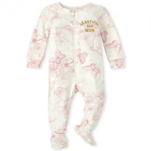 Baby Girls Mommy And Me Beautiful Butterfly Matching Snug Fit Cotton One Piece Pajamas