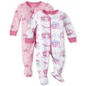 Baby And Toddler Girls Daddy's Princess Snug Fit Cotton One Piece Pajamas 2-Pack