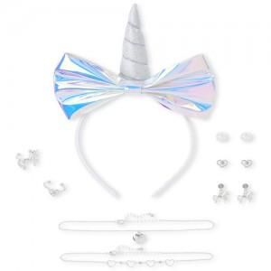 Girls Unicorn 8-Piece Hair And Jewelry Set