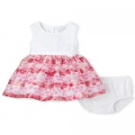 Baby Girls Floral Matching Knit To Woven Dress