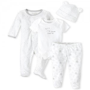 Unisex Baby Moon And Stars 4-Piece Take Me Home Set