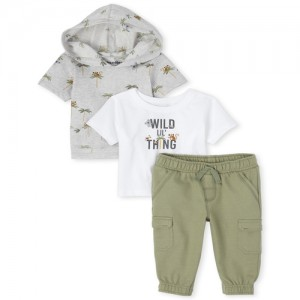 Baby Boys Jungle French Terry 3-Piece Playwear Set